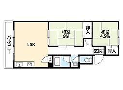 阪急千里線 千里山駅 徒歩19分の賃貸マンション 3階2LDKの間取り