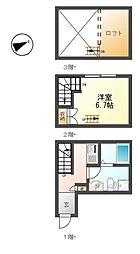 愛知県名古屋市港区港楽3丁目の賃貸アパートの間取り