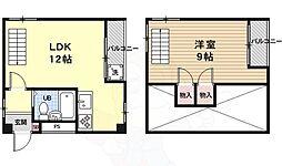 京都地下鉄東西線 太秦天神川駅 徒歩7分の賃貸マンション 3階1LDKの間取り