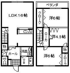 [テラスハウス] 大阪府泉佐野市泉ヶ丘3丁目 の賃貸【/】の間取り