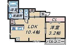 大阪府豊中市服部西町3丁目の賃貸アパートの間取り