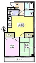 メゾンアルブル[2階]の間取り