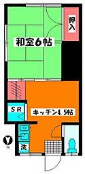 Kハウス 2階1Kの間取り