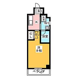 プラウドフラット浅草橋II 5階1Kの間取り