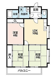 福岡県北九州市小倉南区徳力2丁目の賃貸マンションの間取り
