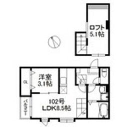 福岡市地下鉄箱崎線 箱崎宮前駅 徒歩5分の賃貸アパート 1階1LDKの間取り