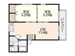 セジュール牛田(牛田東) 1階2LDKの間取り