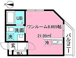 京王線 府中駅 徒歩10分の賃貸アパート 3階ワンルームの間取り