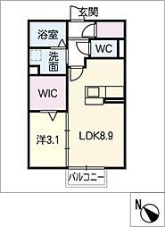 エステート松崎 A棟 2階1SLDKの間取り