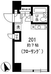 東京メトロ東西線 葛西駅 徒歩6分の賃貸マンション 2階ワンルームの間取り
