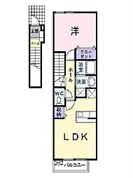 愛媛県松山市保免西1丁目の賃貸アパートの間取り