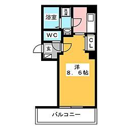金太郎ヒルズ243松が谷 8階1Kの間取り