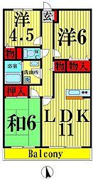 東京都足立区島根3丁目の賃貸マンションの間取り