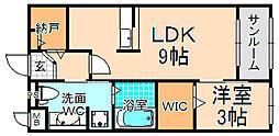 兵庫県伊丹市中野東3丁目の賃貸アパートの間取り