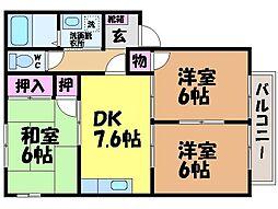 愛媛県松山市三町3丁目の賃貸アパートの間取り