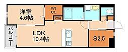 JR香椎線 酒殿駅 徒歩34分の賃貸マンション 2階1SLDKの間取り