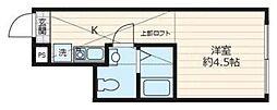 東武野田線 大和田駅 徒歩10分の賃貸アパート 1階ワンルームの間取り