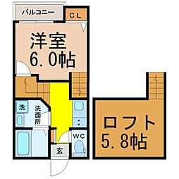 愛知県名古屋市熱田区二番2丁目の賃貸アパートの間取り