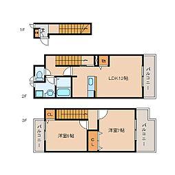 静岡県静岡市駿河区敷地2丁目の賃貸アパートの間取り