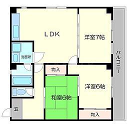 ヴィラ清和 3階3LDKの間取り