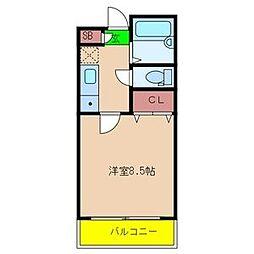 マンションフルール[3階]の間取り