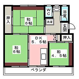ビレッジハウス小瀬 1号棟[2階]の間取り
