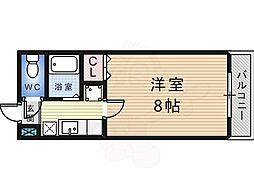 白鷺TKハイツ 4階1Kの間取り