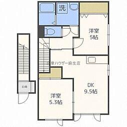 仮称)新琴似7条5丁目新築アパート 2階2LDKの間取り