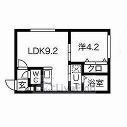 札幌市営東西線 南郷13丁目駅 徒歩6分の賃貸マンション 1階1LDKの間取り
