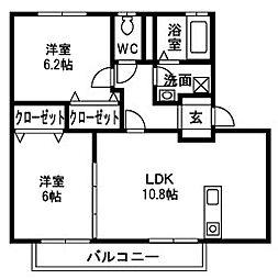 メルヴェーユ松代A[2階]の間取り