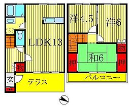 [テラスハウス] 千葉県柏市中原2丁目 の賃貸【千葉県 / 柏市】の間取り