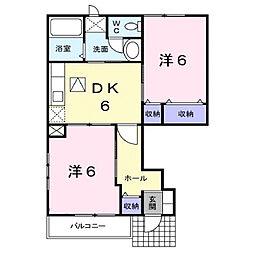 広島県福山市山手町6の賃貸アパートの間取り