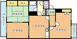 グリーンハイツ第2引野(分譲賃貸)[4階]の間取り