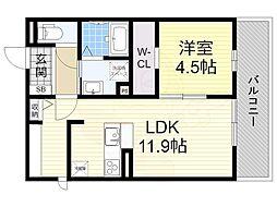 阪急宝塚本線 庄内駅 徒歩19分の賃貸アパート 2階1LDKの間取り