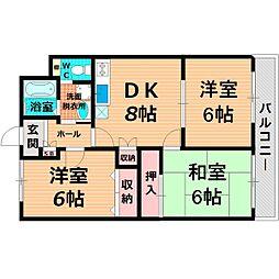 Osaka Metro長堀鶴見緑地線 鶴見緑地駅 徒歩23分の賃貸マンション 2階3LDKの間取り