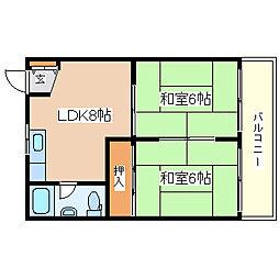 兵庫県神戸市須磨区水野町1丁目の賃貸マンションの間取り