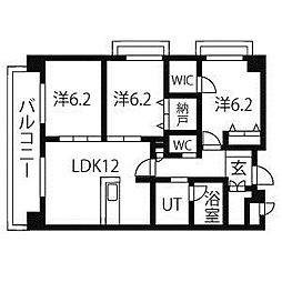 愛知県名古屋市名東区西山本通2丁目の賃貸マンションの間取り