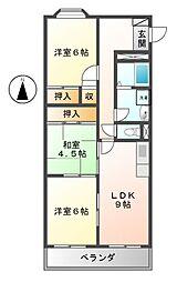 愛知県名古屋市西区上名古屋2丁目の賃貸マンションの間取り