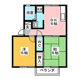 サウスガーデンB2II B[2階]の間取り