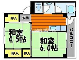 岡山県総社市井尻野の賃貸マンションの間取り