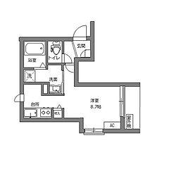 エブリネット新宿 4階ワンルームの間取り