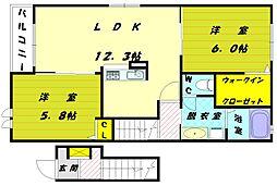 ベルコロレ6B[1階]の間取り