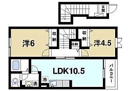 奈良県奈良市疋田町5丁目の賃貸アパートの間取り