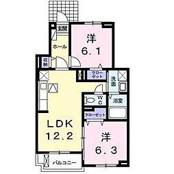 大阪府東大阪市稲葉2丁目の賃貸アパートの間取り