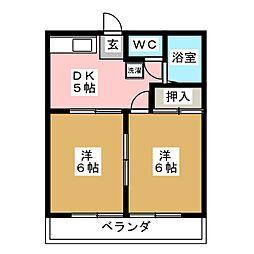 コーポ南松A[2階]の間取り