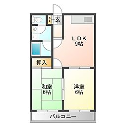 シャンクレール塚本[6階]の間取り