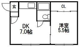 コーポ赤松[201号室]の間取り