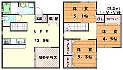 [一戸建] 福岡県福津市宮司5丁目 の賃貸【/】の間取り