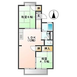 愛知県北名古屋市九之坪市場の賃貸アパートの間取り