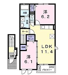 香川県高松市十川東町の賃貸アパートの間取り